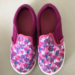 Crocs Pink Floral Slip Ons